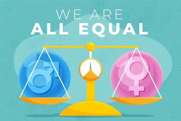 Échelle égale entre les femmes et les hommes