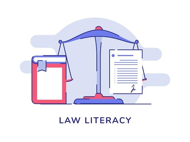 Échelle d'équilibre de concept d'alphabétisation de droit blanc fond isolé