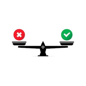 Échelle avec icône de décision. fait ou mythe. vecteur eps 10. isolé sur fond blanc.