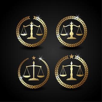 Échelle d'illustration de logo de luxe pour le cabinet d'avocats, parfaite pour les affaires de bureau de cabinet d'avocats. couleur or brillante avec style dégradé