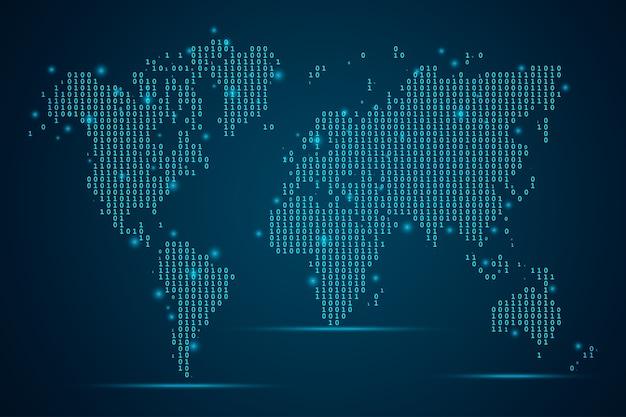 Échelle de numéro d'entreprise abstraite mash sur fond sombre avec map world