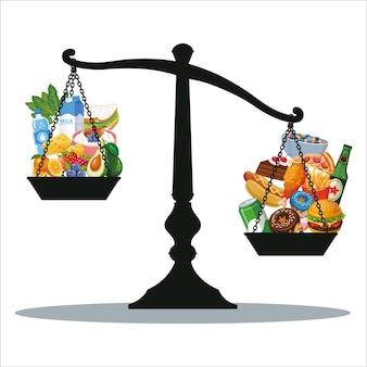 Échelle de poids nourriture saine et illustration de la malbouffe rapide
