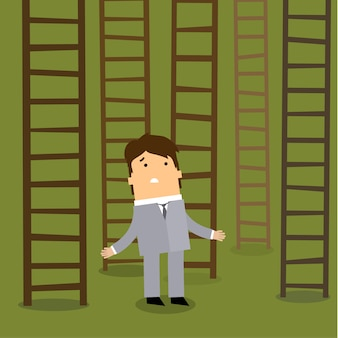 Échelle vers le succès. concept de choix d'affaires.