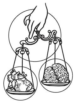 Échelles d'art de tatouage dessinant le cerveau et le croquis de coeur