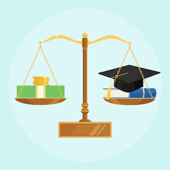 Échelles avec chapeau de graduation académique, manuel et pile d'argent. investir dans l'éducation, étudier