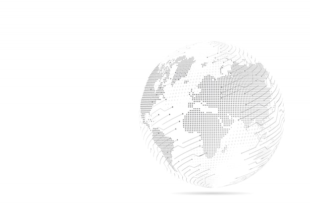Échelles de ligne et de point de purée abstraite avec globe terrestre. ligne de réseau polygonale en treillis métallique 3d, sphère de conception, point et structure.