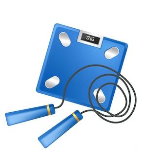 Échelles de sport fitness training acessory et icônes vectorielles corde à sauter