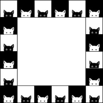 Échiquier de chat blanc noir border background