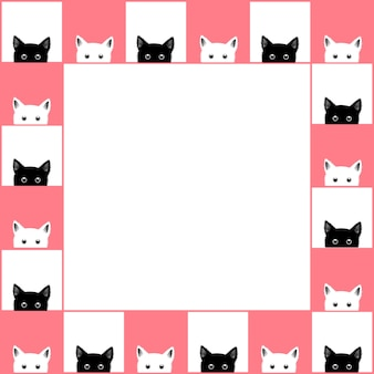 Échiquier de chat blanc noir border pink background