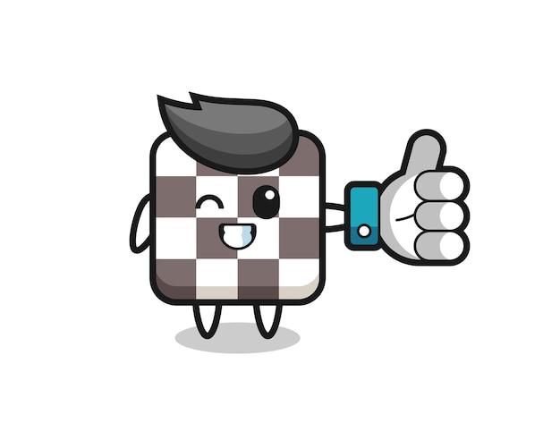 Échiquier Mignon Avec Symbole De Pouce Levé Sur Les Médias Sociaux, Design De Style Mignon Pour T-shirt, Autocollant, élément De Logo Vecteur Premium