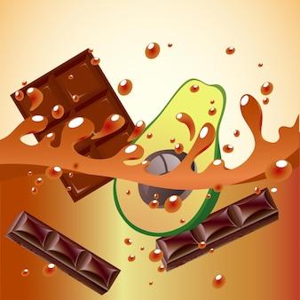 Éclaboussure d'avocat et de chocolat