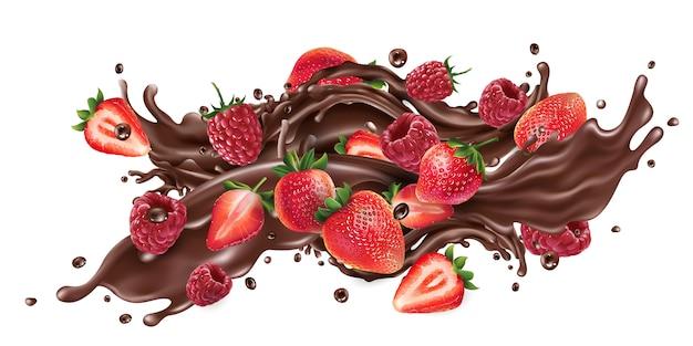 Éclaboussure de chocolat liquide et fraises fraîches et framboises.