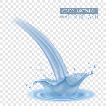 Éclaboussure d'eau réaliste. couronne d'eau et embruns, vagues en surface
