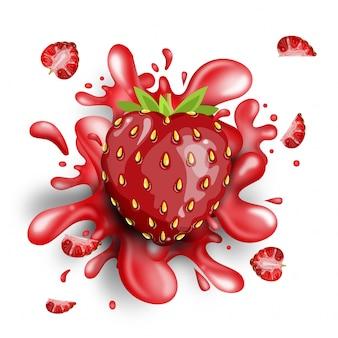 Éclaboussure de fraise entière sur fond blanc.
