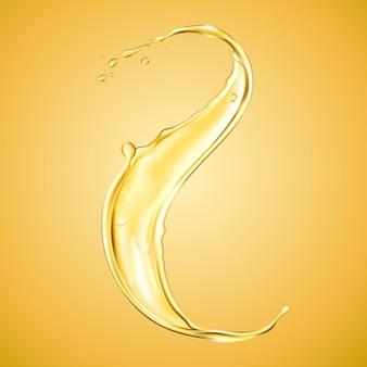 Éclaboussure d'huile réaliste ou déversement de liquide orange.