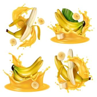 Éclaboussure de jus de banane réaliste sertie de quatre images isolées de fruits de banane flottant dans un liquide jaune