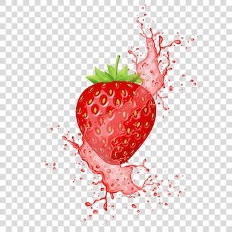 Éclaboussure de jus de fraise. fruits frais réalistes. vecteur.