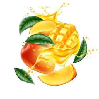 Éclaboussure de jus de tranche de feuille de mangue réaliste de vecteur