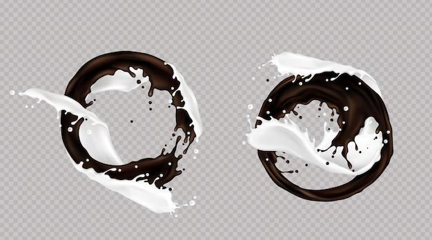 Éclaboussure de lait et de chocolat noir ou de café mélangé dans un tourbillon isolé sur fond transparent. gouttelettes dynamiques liquides, éléments de coulée pour la conception de l'emballage, annonce promotionnelle, illustration vectorielle 3d réaliste