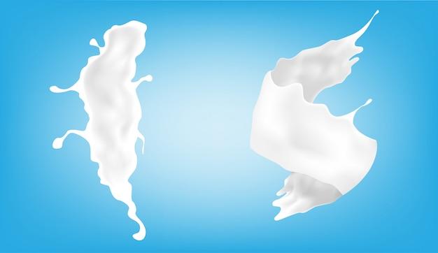 Éclaboussure de lait avec deux formes