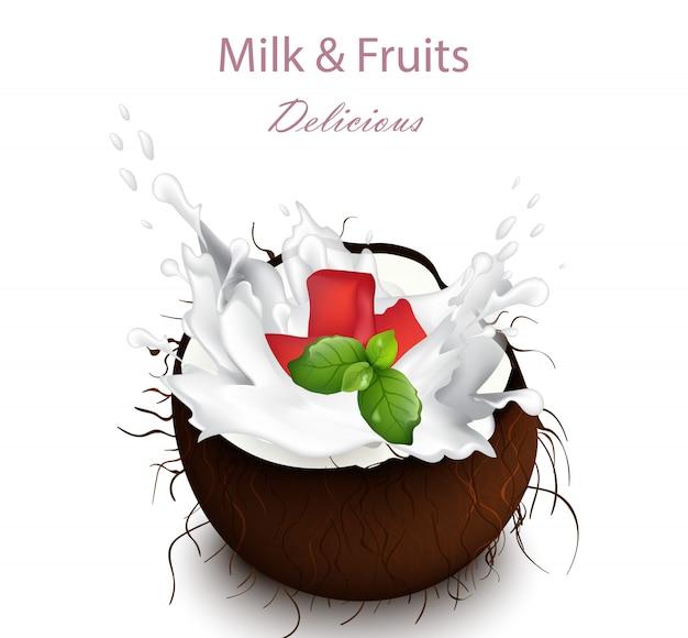 Éclaboussure de lait de noix de coco