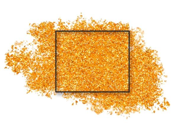 Éclaboussure de paillettes dorées avec carré