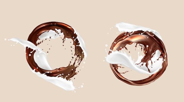Éclaboussures de café et de lait, mélange de chocolat et de produits laitiers, jets tourbillonnants ronds. les liquides bruns blancs tourbillonnent avec des gouttelettes éclaboussantes, des cadres, des éléments dynamiques