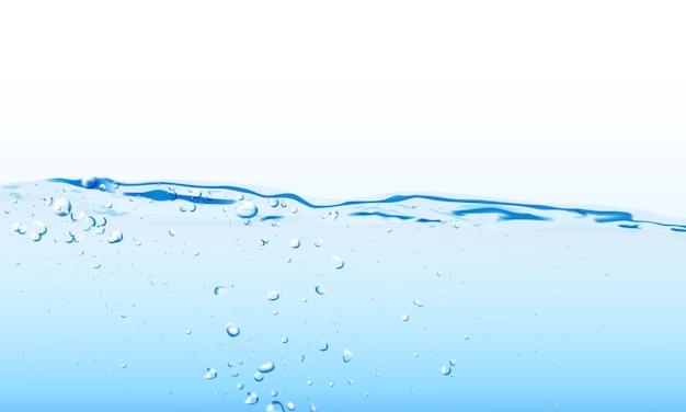 Éclaboussures d'eau et bulles d'ondulation