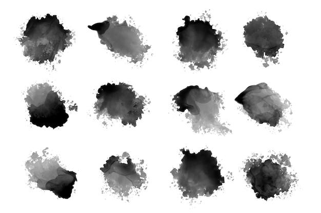 Éclaboussures et gouttes d'aquarelle d'encre noire