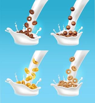 Éclaboussures de lait et de céréales