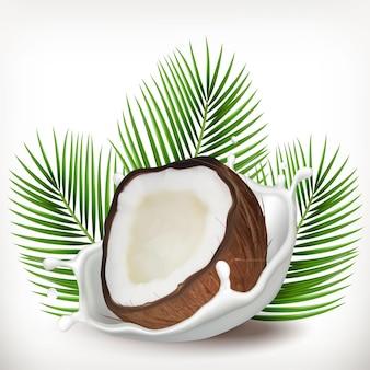 Éclaboussures de noix de coco et de lait avec des feuilles de palmier