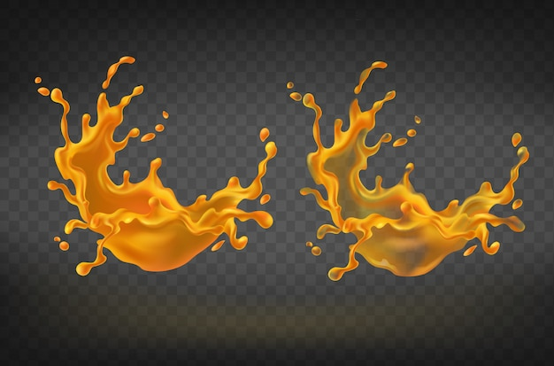 Éclaboussures orange réalistes, éclaboussures de jus ou de peinture avec des gouttes.