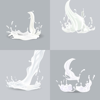 Éclaboussures réalistes de liquide blanc avec illustration vectorielle de gouttes isolées
