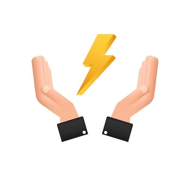 Éclair dans les mains. coup de tonnerre, expertise de frappe d'éclairage. illustration vectorielle.