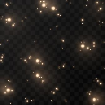 Un éclair d'étincelles. lueur dorée.