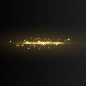 Un éclair de lumière doré magique et plat