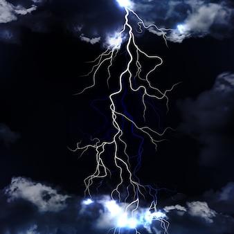 Éclair avec nuages dramatiques