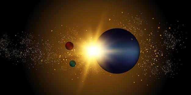 Un éclair de soleil dans l'espace galactique
