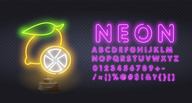 Éclairage au néon de citron jaune.