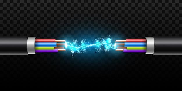 Éclairage électrique incandescent entre le câble de rupture.