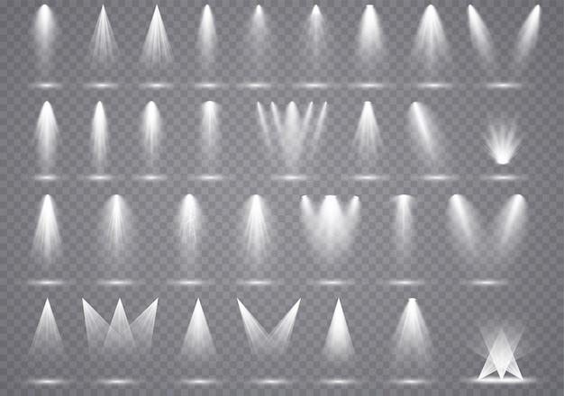 Éclairage de grands projecteurs, effets transparents avec éclairage ponctuel.