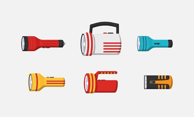 Éclairage de lampe de poche avec projecteur ou flash. ensemble d'illustration de lanterne lumineuse clignotante isolé sur fond blanc. lampe de poche de l'icône de jeu plat léger.