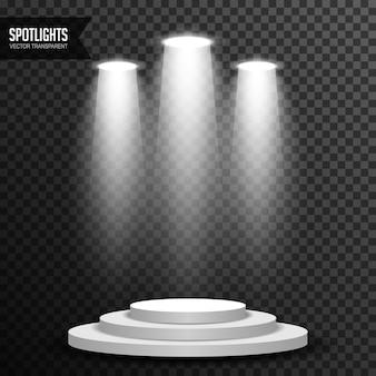 Éclairage à la lumière spot avec vecteur de podium rond transparent