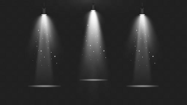 Éclairage spot réaliste de la scène. collection d'illumination de scène.