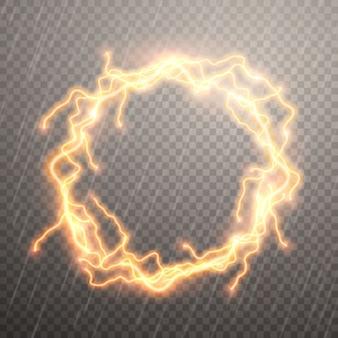 Des éclairs réalistes avec transparence. cercle entouré d'un motif luxueux de foudre.