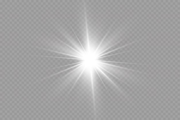 Éclat soleil brillant rayons soleil étoile brillante isolé sur fond transparent