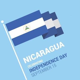 Éclatant le drapeau 3d nicaragua joyeux jour de l'indépendance