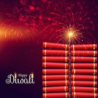 Éclatement bombe cracker pour le festival de diwali heureux