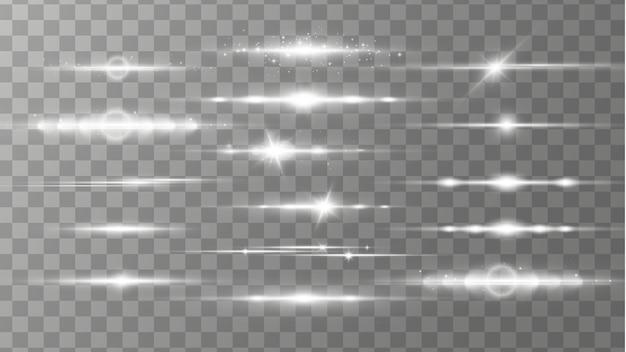 Éclats d'objectif horizontaux blancs, faisceaux laser, lumière parasite.