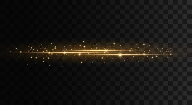 Éclats d'or brillant. ensemble de fusées éclairantes horizontales jaunes. faisceaux laser, rayons lumineux horizontaux, lignes.